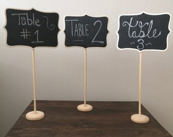 10 Large Chalkboard Table Stands - Shabby Chic Wedding Decor. Chalkboard signs-by HandStampology
