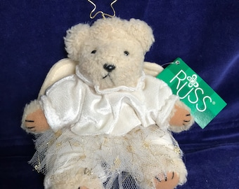 Dolls & Bears Annette Funicello White Angel Bear Mint With Tag And Crystal Angel Mini Bear