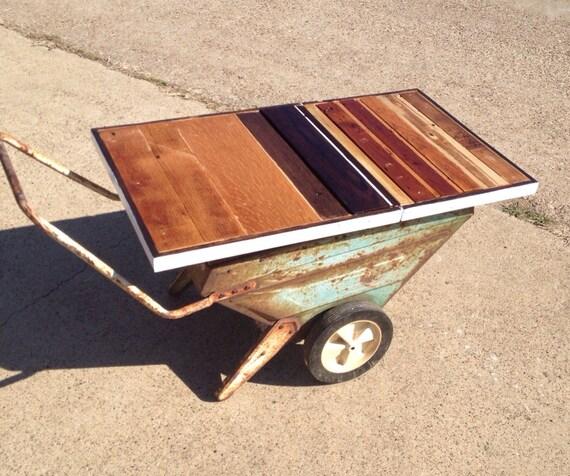 Wheelbarrow Coffee Table Etsy - Wheelbarrow coffee table