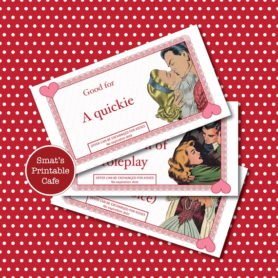 Naughty Love Coupons Printable Valentines Day Gift  Etsy-9535