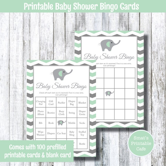 Mint Green Grey Elephant With Chevron Themed Baby Shower Etsy