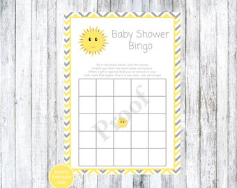 Yellow and Gray You Are My Sunshine Chevron Baby Shower Bingo Game - PRINTABLE Sunshine Theme - Gender Neutral - Grey
