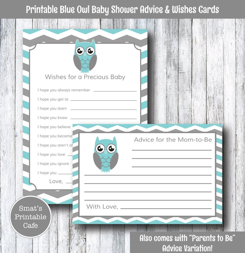 50 Baby Shower Advice Cards Statistics Prediction Game boy girl neutral Chevron