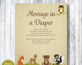 Woodland Animal Baby Shower Diaper Message Game - PRINTABLE Forest Theme - Gender Neutral - Instant Download - Baby Shower Games - Fox Deer