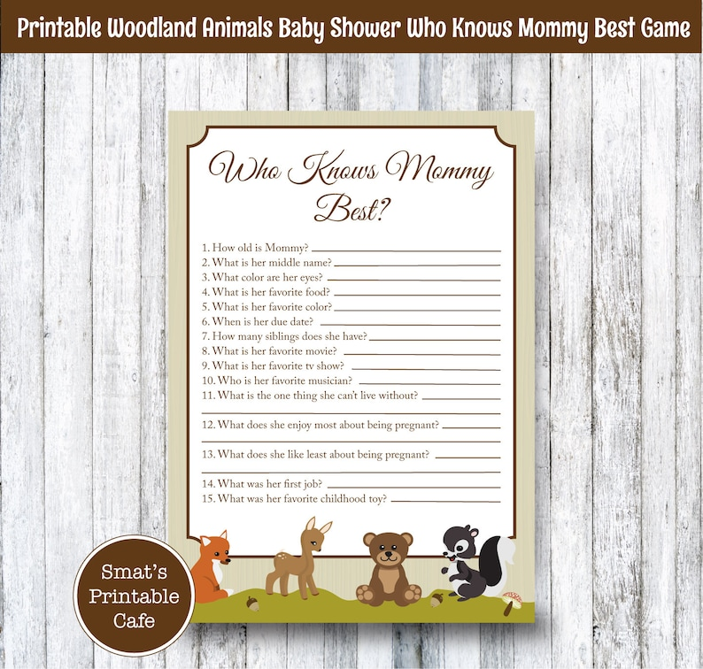 Woodland Animals Baby Shower Who Knows Mommy Best Quiz Game | Etsy