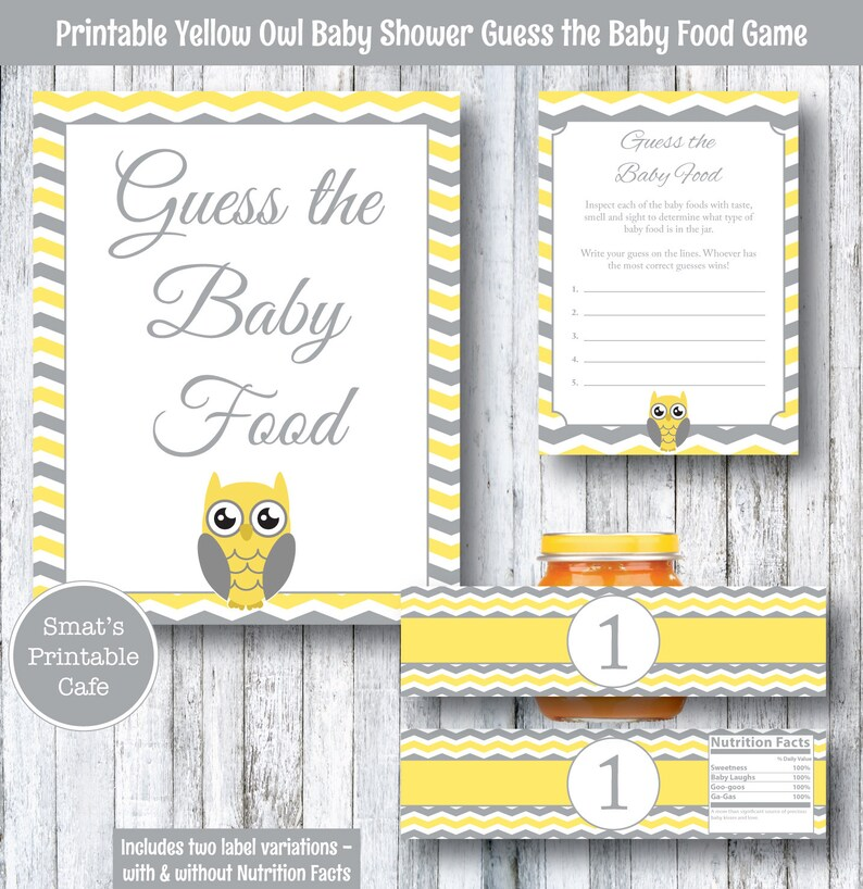 e91b53a409 Yellow Owl Baby Shower Guess the Baby Food Game PRINTABLE | Etsy