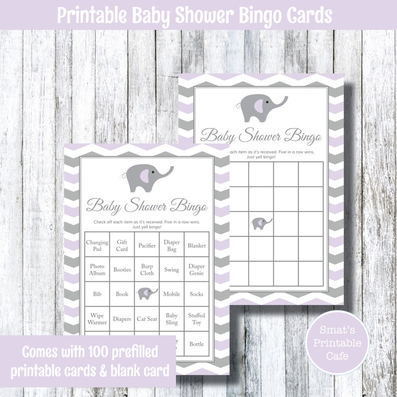 Purple Grey Elephant With Chevron Themed Baby Shower Bingo Etsy