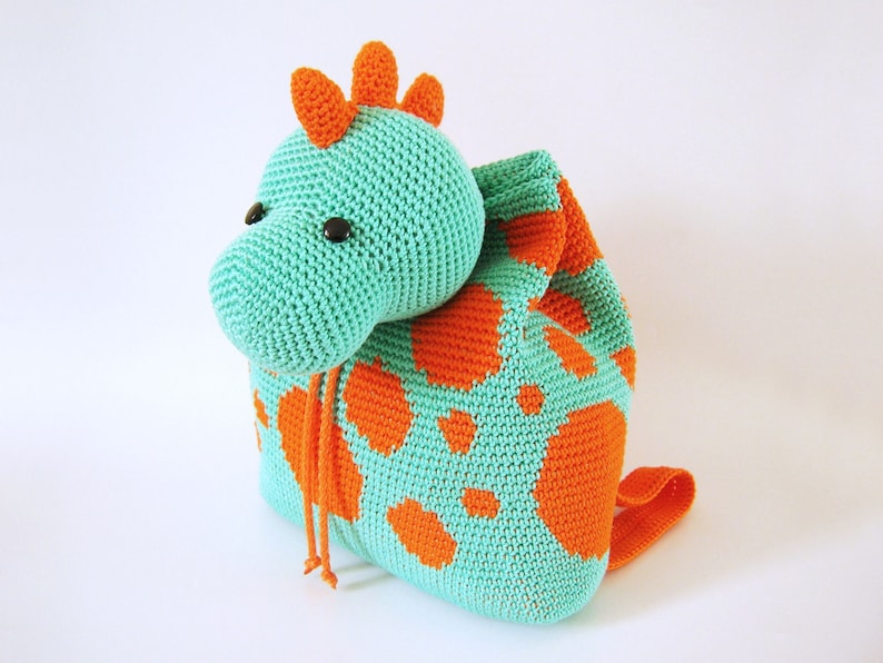 Crochet pattern for dino backpack. Cute and practical image 0