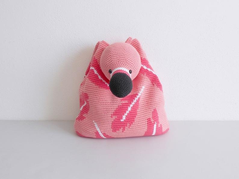 Crochet pattern for Flamingo Bag-Pack. Crochet backpack image 0