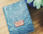 SALE 50 Personalized Leather Passport Cover, Leather, holder, monstera palm leaves, Boho Passport Cover, handmade, name initials