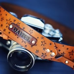 Custom Leather Camera Strap, Handmade personalized gift, star pattern, boho, hand stitched. Choose color, custom text, name, initials
