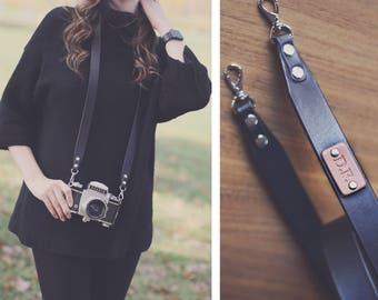 Custom Camera Strap, leather camera strap, camera strap, personalized, dslr camera, Choose text, name, initials, Black, Brown, plain elegant