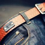 Custom Leather Belt, Handmade personalized gift, Brown stain, Chevron pattern, full grain leather belt, Men's Belt, Custom name initials