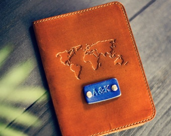 SALE 50% FREE Personalization Leather Passport Cover, Leather, holder, wanderlust travel, World map Passport Cover, handmade,  name initials