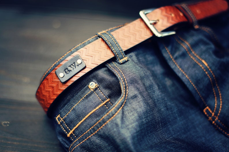 Custom Leather Belt Handmade personalized gift Brown stain image 0