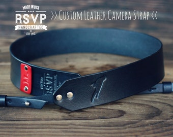 Custom Leather Camera Strap, Handmade personalized gift, Black stain, Bird, Custom text, name initials, swallow, robin, crow