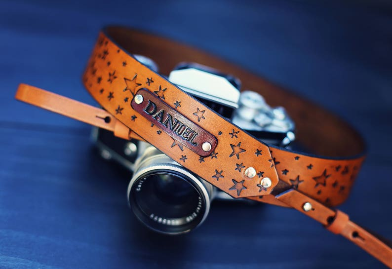 Custom Leather Camera Strap Handmade personalized gift star image 0
