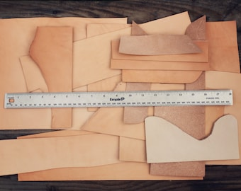 1lb Leather Scraps, Vegetable Tanned Leather, Luxury Tooling Leather, Leather Remnants, full grain, various sizes