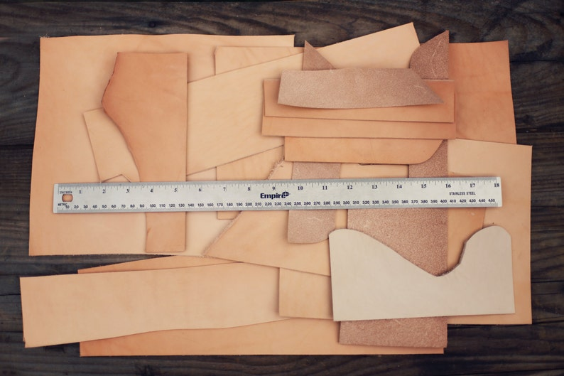 1lb Leather Scraps Vegetable Tanned Leather Luxury Tooling image 0