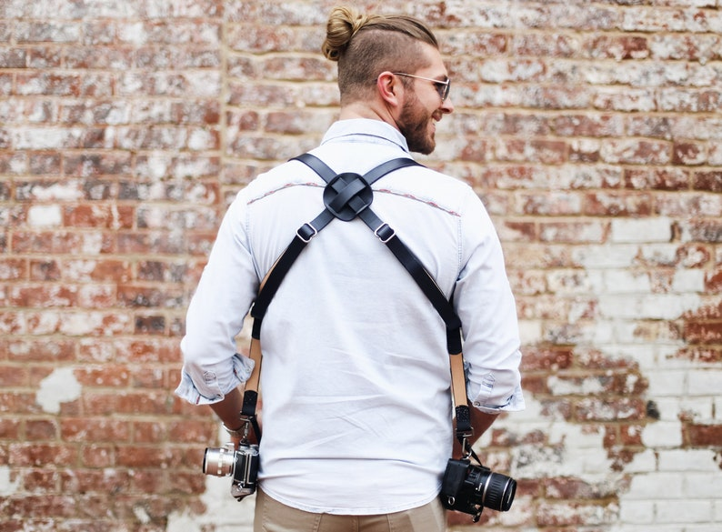 FREE Personalization Dual Camera Harness Adjustable Custom name initials Black Brown Double Camera Two camera Leather Multicamera Strap