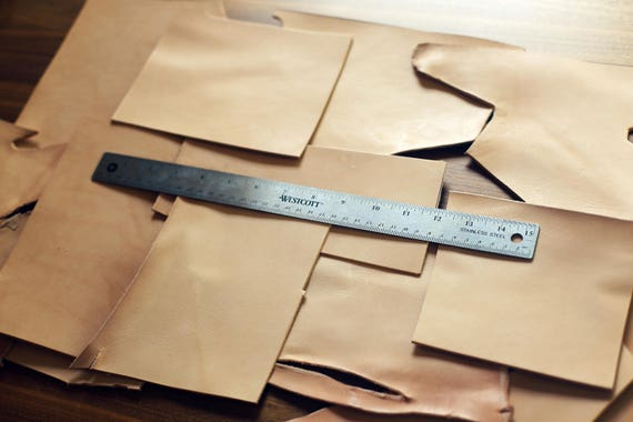 Vegetable Tanned Leather LARGE size 1lb Leather Scraps Tooling Remnants