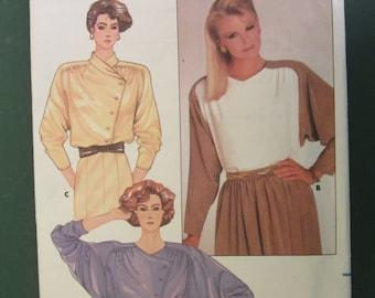 Asymmetrical Closure Shirt Butterick Pattern 3591 UNCUT Misses Size 12