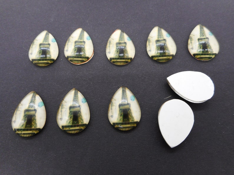 Lotto of 10 vintage style drop cabochon of the Eiffel Tower Lot 10 Cab teardrop Vintage/'s Style Eiffel Tour