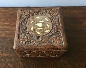Vintage Hand Carved Wood Box, Carved Wooden Trinket Box, Small Wood Jewelry Box, Boho Home Decor, Bohemian Decor, Rustic Wood Stash Box