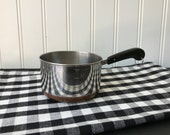 Vintage Mini Measuring Saucepan, Stainless Steel One Cup Size Sauce Pan, Small Copper Clad Metal Pot with Black Plastic Handle