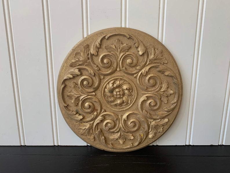 Vintage wood moulding or plaque carved wood floral pattern etsy