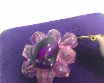 Vintage 1950's Purple Beaded Earrings Stampled West Germany