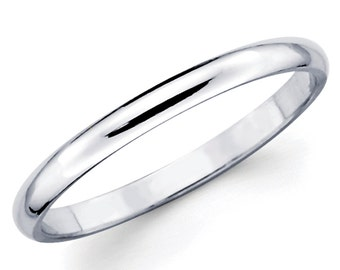 14K Solid White Gold 2mm Comfort Fit Wedding Band Ring