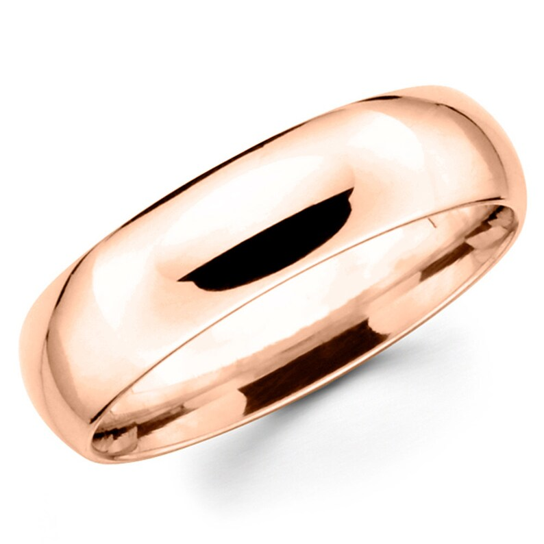 14K Solid Rose Gold 6mm Comfort Fit Wedding Band Ring