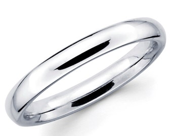 14K Solid White Gold 3mm Comfort Fit Wedding Band Ring