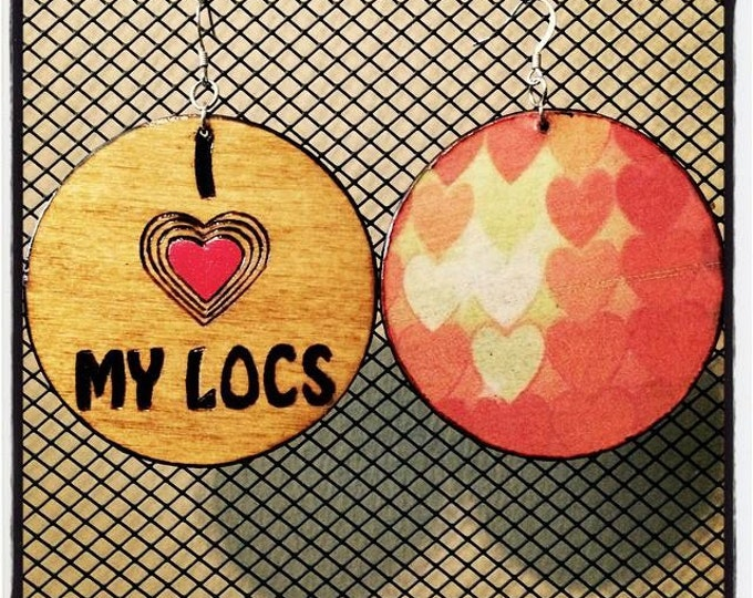 I (heart) MY LOCS Earrings with hearts graphic back