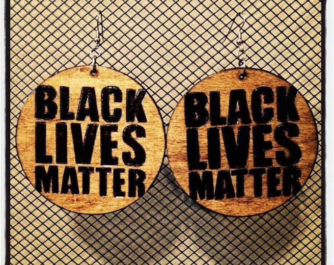 BLACK LIVES MATTER Earrings with graphic back