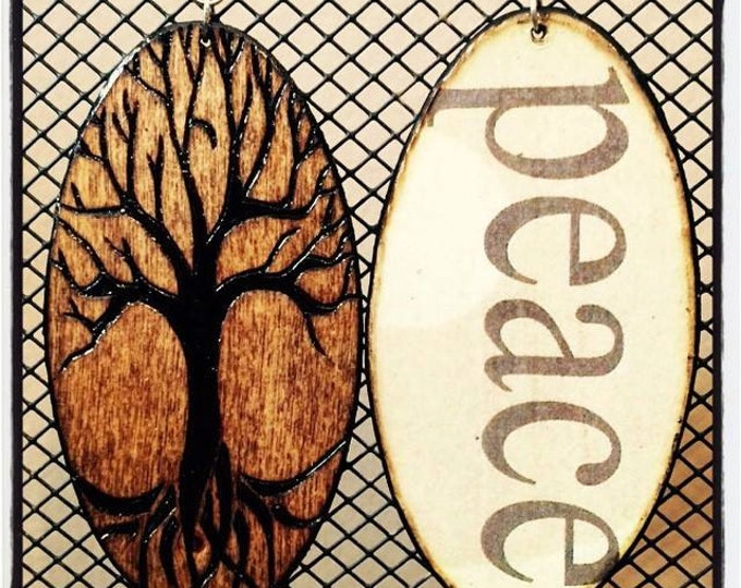 """Tree of Life Earrings with """"Peace"""" graphic back"""