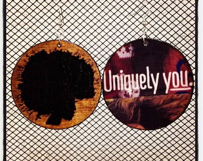 """Pick Your Afro Earrings with """"Uniquely You"""" graphic back"""