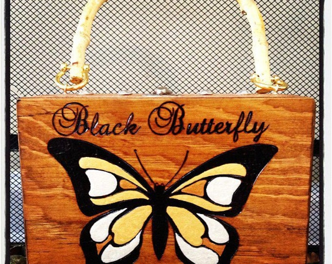 Black Butterfly Hand-Painted and Woodburned Purse with Bamboo Handle