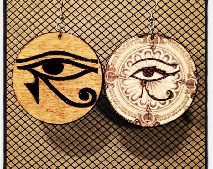 Eye of Horus Earrings with Eye of Horus graphic back