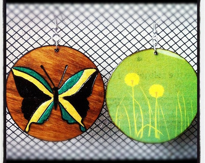 Jamaican Butterfly Earrings with floral graphic back