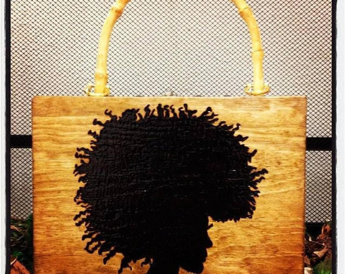 Pick Your Afro Woodburned Purse with Bamboo Handle