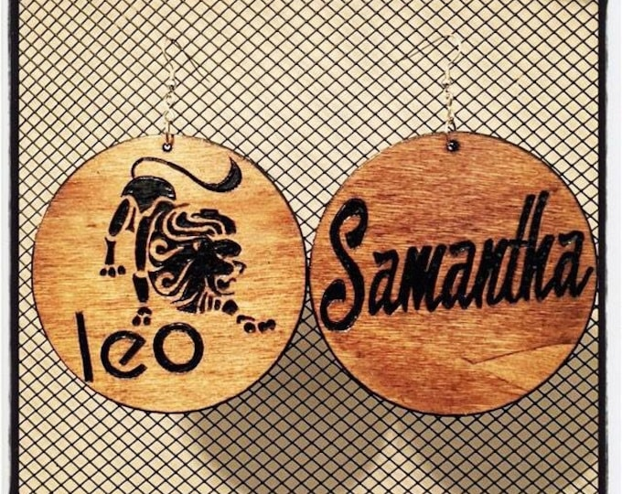 Leo Earrings with personalized back