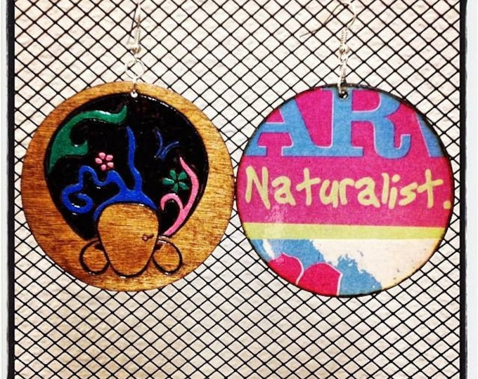 "ArtDeco Afro Earrings with ""Naturalist"" graphic back"