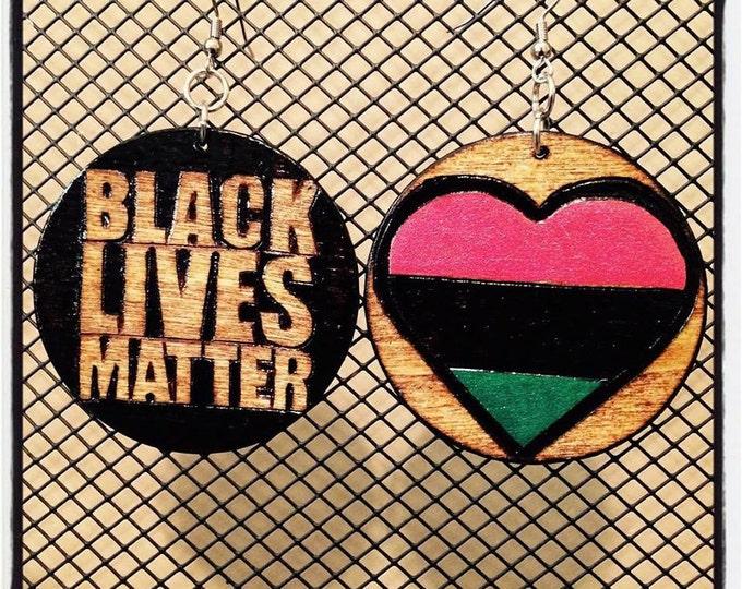 Black Lives Matter Earrings with RBG painted heart back