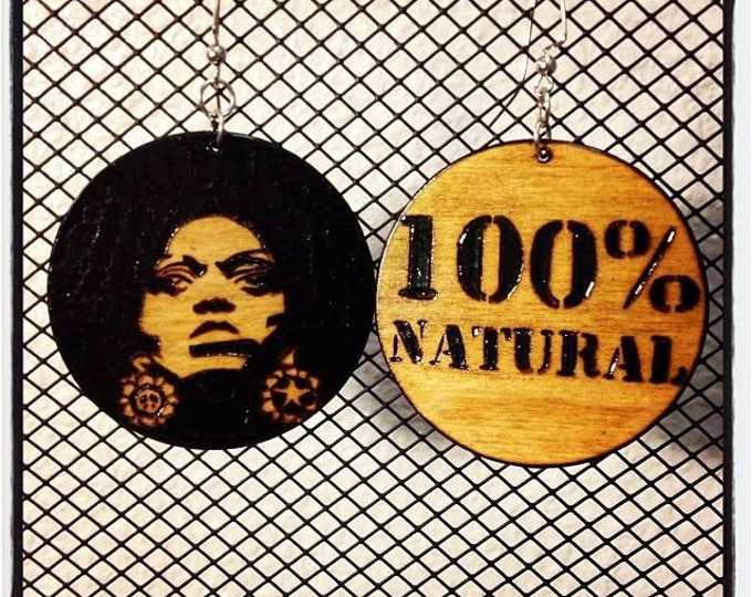 "Afro Sis Earrings with ""100% NATURAL"" burned back"