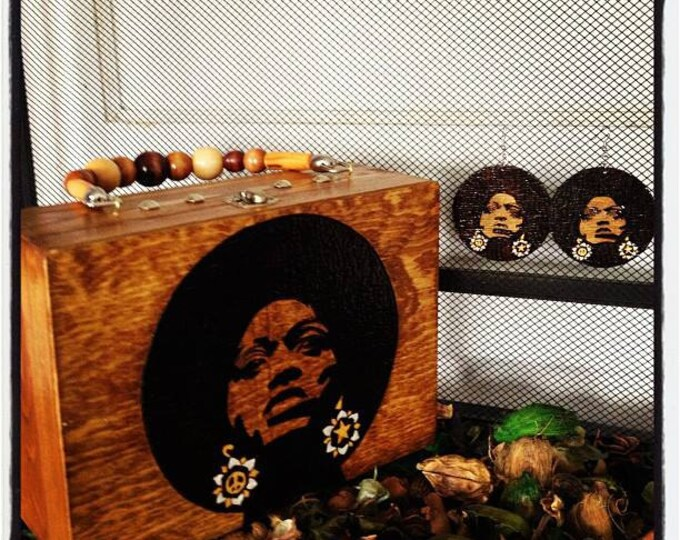 Afro Sis Woodburned Purse and Earrings Set