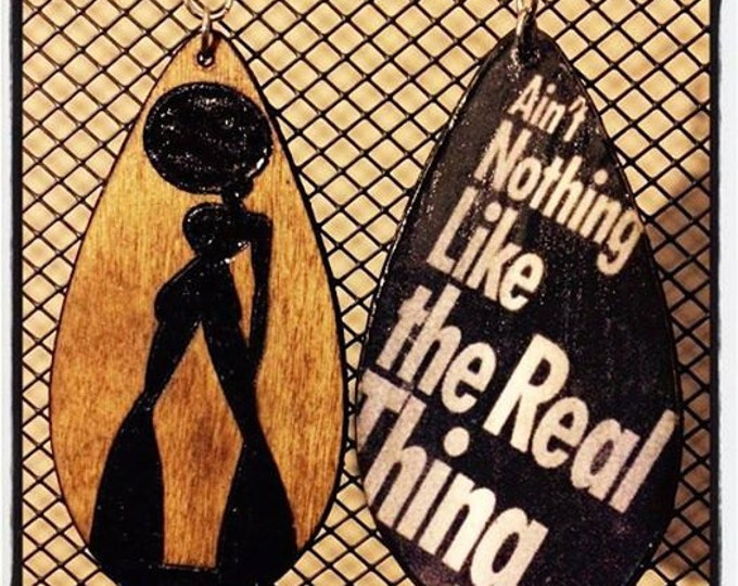 """Soul Sis Earrings with """"Ain't Nothing Like the Real Thing"""" graphic back"""