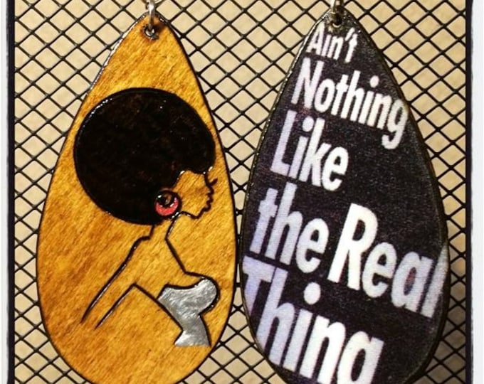 """Fly Sis Earrings with """"Ain't Nothing Like the Real Thing"""" graphic back"""
