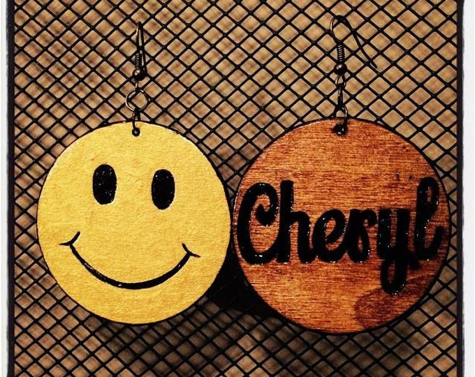 Smiley Face Earrings with personalized burned back